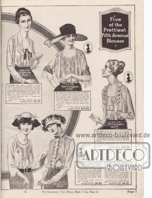 """""""Die fünf hübschesten Blusen der Fifth Avenue"""" (engl. """"Five of the Prettiest Fifth Avenue Blouses""""). Blusen aus Organdy, Seiden-Georgette Krepp, """"Tub Silk"""" (Seiden-Baumwoll-Stoff) oder Seiden-Pongee (Japanseide) für Frauen. Biesen, Haarbiesen, Schleifen, Stickereien und Perlstickereien, Hohlsaumnähte und Hohlsaumstickerei, feine Plisseerüschen sowie Kragen- und Ärmelaufschlaggarnituren aus Batist dienen als modische Details. Die Modelle besitzen lange oder halblange, glockige Ärmel. Zwei Blusen mit Kimonoärmeln."""
