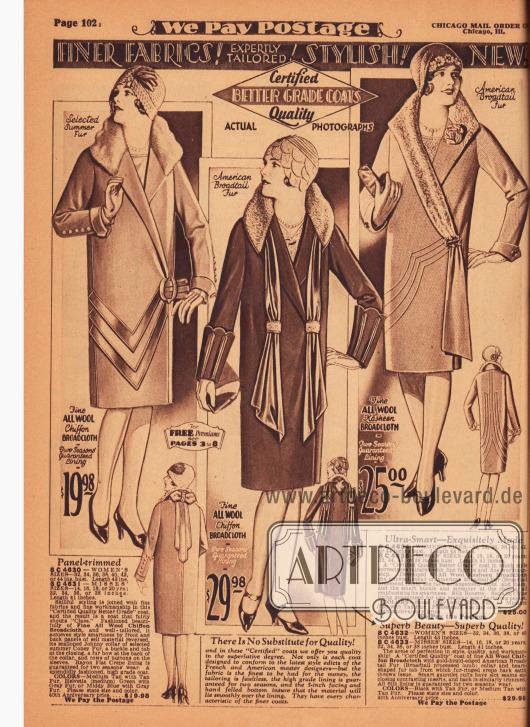 """Drei exklusive Damenmäntel für das Frühjahr aus Woll-Chiffon-Breitgewebe und Woll-Kasha-Breitgewebe. Das Sommerfell des Kaninchens sowie amerikanischer Breitschwanz (Karakulschaf) zieren die Kragen der Mäntel. Der erste Mantel präsentiert einen pointierten """"Johnny collar"""", dekorative Paneele vorne und hinten sowie eine Pelzschleife im Nacken. Der zweite Mantel zeigt apart geformte Ärmelmanschetten mit aufbrechenden Ziernähten und zwei lange drapierte Schulterschals, die vorne und hinten befestigt sind. Das dritte Modell zeigt vorne und hinten Biesen und einen langen Schalkragen, der unterhalb der Hüfte in einem langen Band endet. Zierschnalle und künstliche Ansteckblüte."""