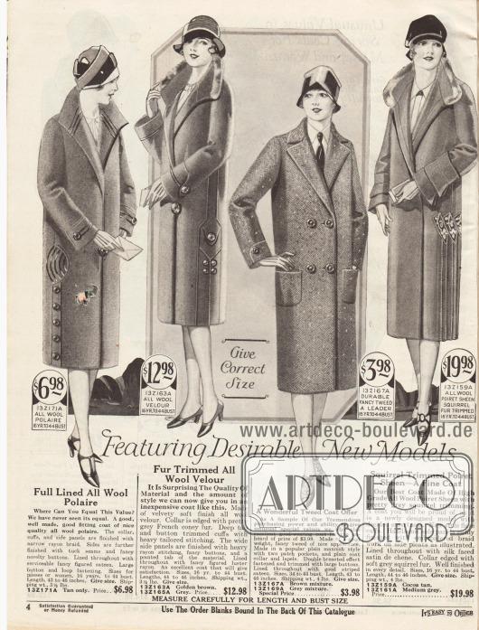 """Damenmäntel für das Frühjahr aus """"woll polaire"""", Woll-Velours, Tweed und Poiret-Wolle. Zwei der Mäntel sind mit Pelzröllchen am Kragen aus Kaninchen- und Eichhörnchenfell verbrämt.Der erste Mantel ist mit Tressen und Paspeln verziert. Wie der erste Mantel zeigt auch der zweite Mantel Paspeln und ist mit vielen großen Knöpfen versehen. Der dritte zweireihige Mantel ist ein sportliches Modell mit aufgesetzten Taschen. Das vierte Modell zeigt seitliche Paneele mit Stickereien sowie Unterärmel, die mit Blenden versehen sind."""