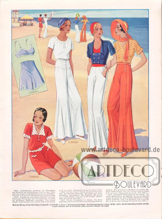 5634: Luftbadeanzug, bestehend aus Büstenhalter und Beinkleid aus lavendelblauem Toile de soie. Beide sind mit schmalen weißen Blenden abgesetzt.5635: Strandanzug mit kurzem Beinkleid aus roter frottéartiger Waschseide. Für die Garnierung ist weiße, rot gepunktete Waschseide verwendet. Vorn Knopfschluß.5636: Für den Strand: Pyjama aus weißer Shantungseide mit Säumchengarnierung. Der Taille sind kurze Ärmelchen angeschnitten. Das Beinkleid fällt glockig aus.5637: Fescher Strandanzug aus Leinen. Das kurze dunkelblaue Jäckchen wird über einem beliebigen Pullover getragen. Weit geschnittenes Beinkleid aus weißem Material.5638: Jugendlicher Bobbyanzug für den Strand. Gestreifte Kimonobluse mit Blenden, für die das Material schräg verwendet ist. Das einfarbige Beinkleid ist längsgeteilt.