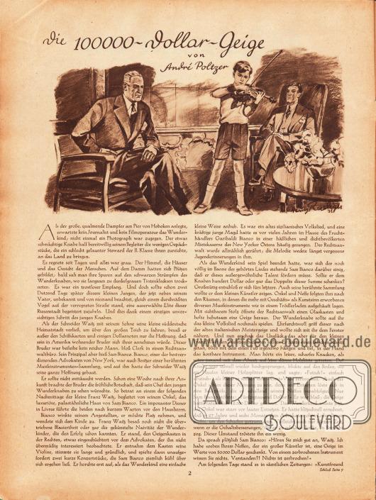 Artikel: Poltzer, André, Die 100000-Dollar-Geige. Zeichnung: Heinz Raebiger (1903-ca.1955).