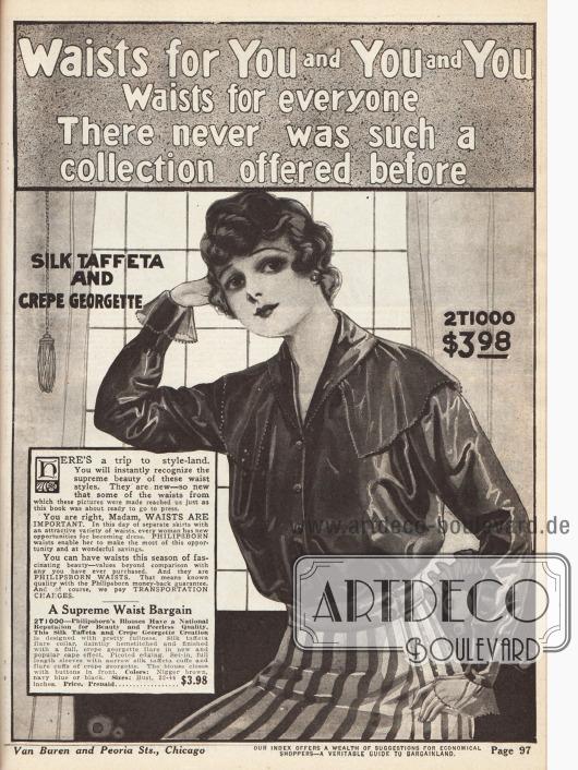 Beginn der Blusenabteilung. des Katalogs.Hier gezeigt ist eine Bluse für 3,98 Dollar aus Seiden-Taft und Georgette Krepp. Der Kragen sowie der Caperand zeigen eine Picotkante (Zackenkante).