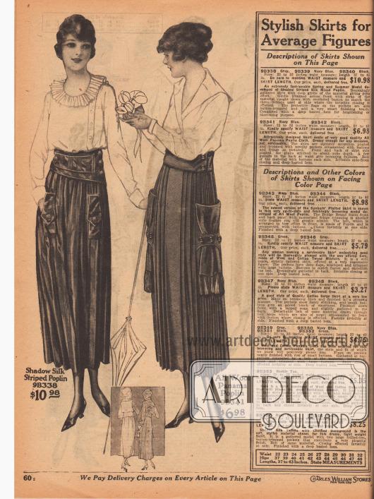 Zwei Damenröcke aus schattengestreiftem Seiden-Popeline sowie Woll-Panama-Popeline. Der erste Rock ist in den Farben Grau und Marineblau erhältlich. Die ungewöhnlich eingearbeiteten Taschen werden durch zwei Laschen mit Klappe und Knöpfen markiert. Rock mit sehr breitem, gürtelartigen Taillenband. Der zweite Rock, der in Marineblau und Schwarz bestellt werden kann, präsentiert ein Akkordeonplissee. Extravagant sind die beidseitig aufgesetzten Taschen, die durch mit Knöpfen verzierte Rocklaschen geführt sind und mit Fransen-Quasten abschließen.