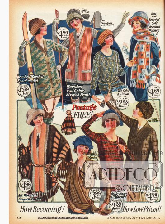 Strick-Pullover, Schals und Woll-Mützen für kalte Wintertage und sportliche Aktivitäten. Einige der Pullover können wie Jacken zugeknöpft werden.