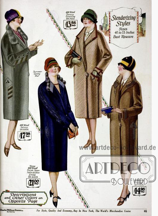 Mäntel für stärker gebaute Damen aus reiner Wolle und Woll-Velours und dezenten Ziernähten. Zwei Mäntel zeigen Kaninchenbesatz.