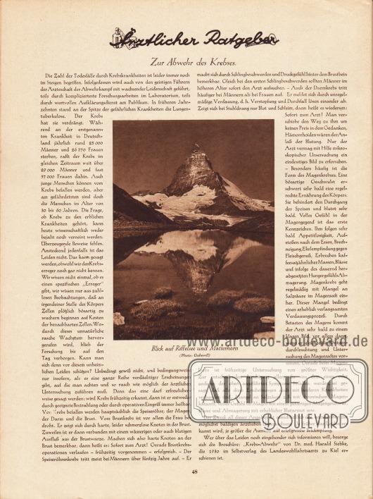 Artikel: O. V., Ärztlicher Ratgeber. Zur Abwehr des Krebses. Mit einem Foto mit Blick auf den Riffelsee und das Matterhorn. Foto: Gaberell.