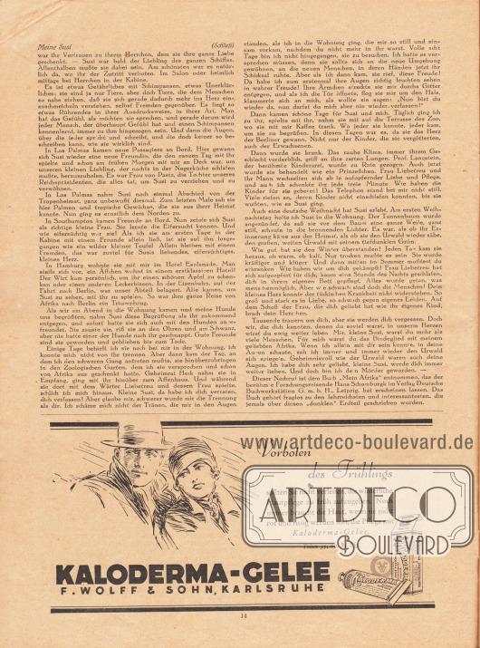 Artikel:Schomburgk, Hans (1880-1967), Meine Susi.Werbung:Kaloderma-Gelee, F. Wolff & Sohn, Karlsruhe.Zeichnung/Illustration: unbekannt/unsigniert.