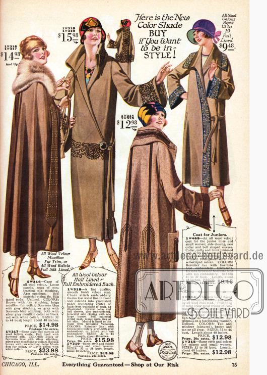 Ein Umhang und zwei Mäntel für Damen aus Woll-Velours und Woll-Polostoff sowie ein Mantel aus Woll-Velour mit bestickter Borte für junge Damen im Alter zwischen 13 und 19 Jahren. Der Umhang zeigt an beiden Seiten lange, lose seitliche Panele, die in einer Seidenquaste enden. Der breite Pelzkragen ist aus Mufflon (Wildschaf). Der erste Mantel präsentiert flächige Stickereien im Schoß, an den Ärmeln und besonders im Rücken. Der steife Kragen wird im Nacken hochstehend getragen. Über einen großen dekorativen Zierknopf wird der Mantel geschlossen. Ebenso zeigt der folgende Mantel schlichte geradlinige Stickereien im Rücken und am Kragen. Der Stoff der langen schmalen angenähten Panele im Rücken findet sich auch an den glockig geschnittenen Raglanärmeln wieder. Der Mantel wird ohne Gürtel getragen und besitzt großräumige Taschen.