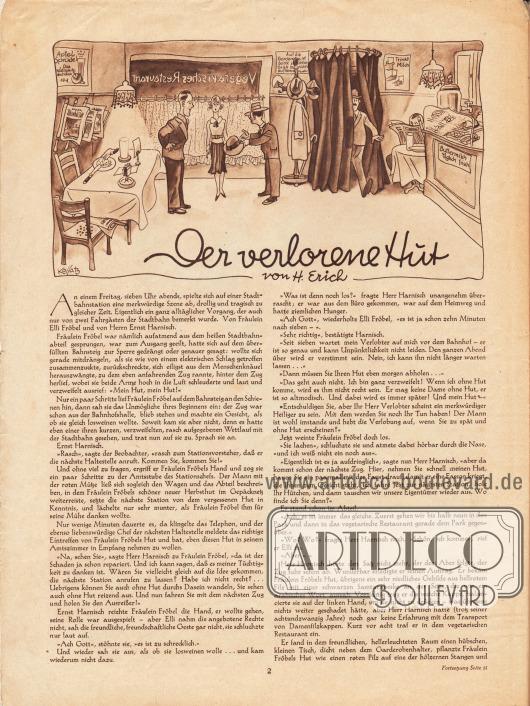 Artikel:Erich, H., Der verlorene Hut.Zeichnung: Hans Kossatz (1901-1985).