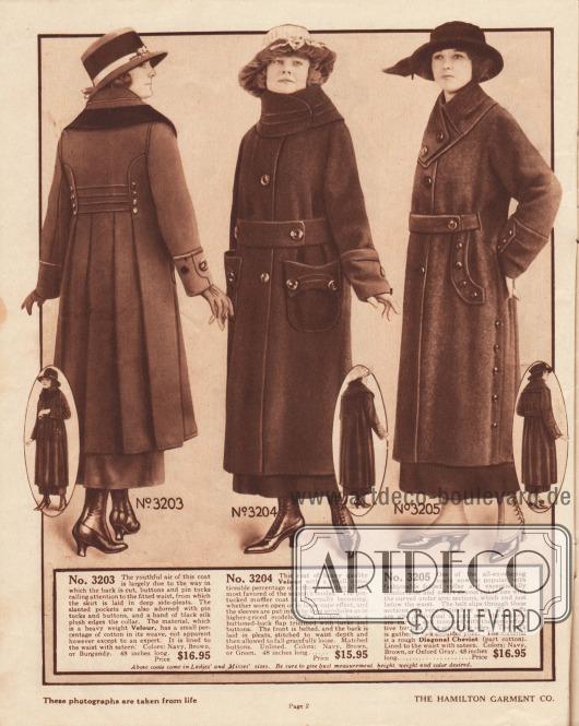 3203: Günstiger Herbstmantel aus Velours für Damen. Die Aufmerksamkeit wird bei diesem Modell auf die Rückenpartie mit ihren Paspeln und Knöpfen gelenkt. Unterhalb der Taille ist der Rockteil in tiefe seitliche Falten gelegt. Auch die Taschen sind ebenfalls mit Paspeln und Knöpfen besetzt. Kragen mit schwarzem Seiden-Plüsch Rand. Das Oberteil ist mit Satin gefüttert. 3204: Preisgünstiger Damenmantel für den Herbst aus Velours. Der breite konvertierbare Schalkragen sowie die aufgesetzten Taschen sind mit Paspeln versehen. Nur vorne breiter Gürtel und große Knöpfe. Das Mantelmaterial ist im Rücken in Falten gelegt. 3205: Herbstlicher Damenmantel aus grober, diagonal verarbeiteter Cheviot-Wolle mit kleiner Baumwollbeimischung. Die Ärmel sind zusammen mit dem Mantel in einem Stück geschnitten. Der Gürtel wird an den Seiten teilweise unter dem Mantelstoff hindurchgeführt. Gefaltet getragener Kragen mit Ziernähten und großen Knöpfen. Die bogigen Taschen sind seitlich schräg eingelassen und mit Knöpfen verzierten Laschen markiert. Der Mantel ist bis zur Taille mit Satin gefüttert.