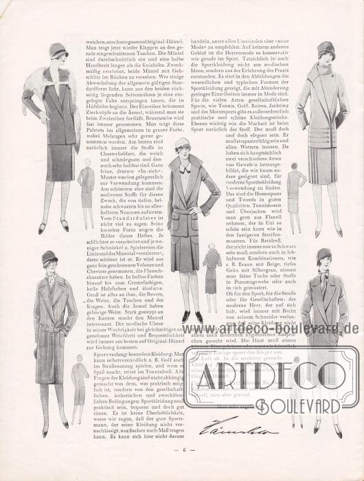Artikel: Henschke, Bruno, Die neue Mode für Frühjahr und Sommer 1929. Ein Modebrief. Der Modeartikel wird hier flankiert und illustriert von geschneiderten Damenmänteln und Kostümen.