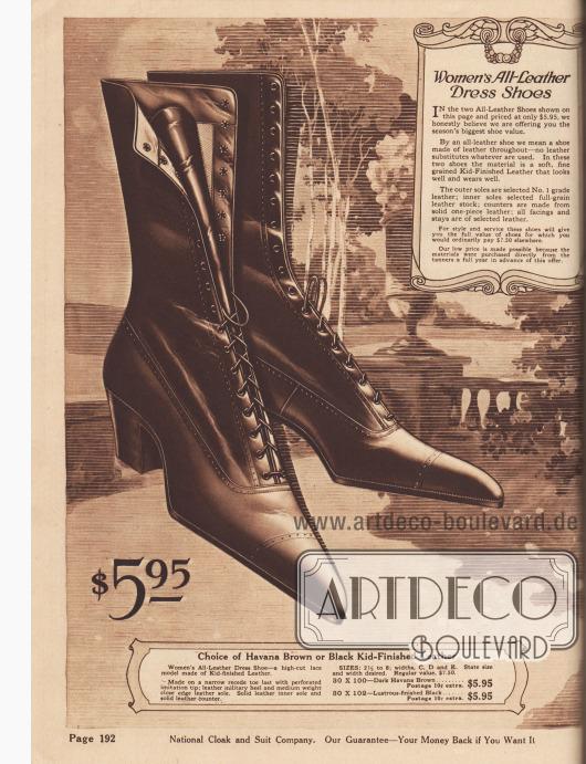 """""""Ganzleder-Anzugschuhe für Frauen"""" (engl. """"Women's All-Leather Dress Shoes""""). Schnürstiefel mit hohem Schaft aus Havanna-Braunem Leder oder wahlweise Lackleder zum Preis von 5,95 Dollar. Stiefel mit spitzen Schuhkappen und leichten Lochlinienperforationen. Mittelhohe, breite Militärabsätze."""