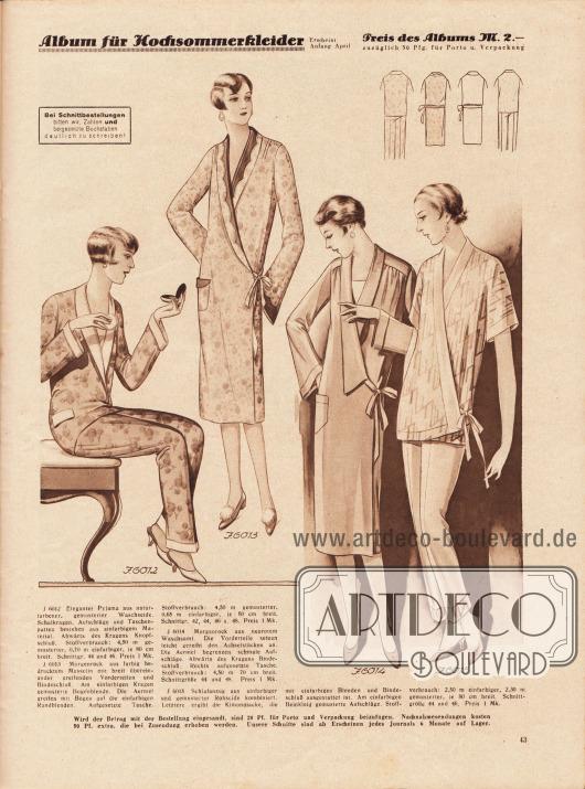 6012: Eleganter Pyjama aus naturfarbener, gemusterter Waschseide. Schalkragen, Aufschläge und Taschenpatten bestehen aus einfarbigem Material. Abwärts des Kragens Knopfschluß.6013: Morgenrock aus farbig bedrucktem Musselin mit breit übereinander greifenden Vorderteilen und Bindeschluß. Am einfarbigen Kragen gemusterte Bogenblende. Die Ärmel greifen mit Bogen auf die einfarbigen Randblenden. Aufgesetzte Tasche.6014: Morgenrock aus neurotem Waschsamt. Die Vorderteile setzen leicht gereiht den Achselstücken an. Die Ärmel begrenzen schmale Aufschläge. Abwärts des Kragens Bindeschluß. Rechts aufgesetzte Tasche.6015: Schlafanzug aus einfarbiger und gemusterter Rohseide kombiniert. Letztere ergibt die Kimonojacke, die mit einfarbigen Blenden und Bindeschluß ausgestattet ist. Am einfarbigen Beinkleid gemusterte Aufschläge.
