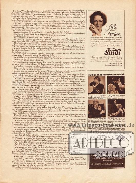Artikel: O. V., Die Würstchenbude. Werbung: Sindi Schmerztabletten; Roberts Nurblond, das Spezial-Shampoo für Blondinen; Sebalds Gesichtswasser, Joh. Andre Sebald AG, Hildesheim.