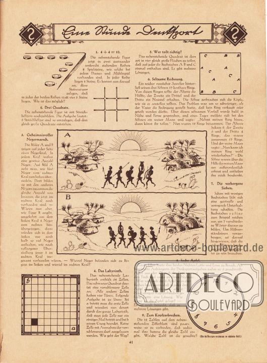 """""""Eine Stunde Denksport"""". Rätselseite mit folgenden Rätseln: 1. 4 + 4 = 10, 2. Drei Quadrate, 3. Geheimnisvoller Negermarsch, 4. Das Labyrinth, 5. Wer teilt richtig?, 6. Seltsame Rechnung, 7. Die verborgene Sieben, 8. Sechs Äpfel, 9. Zum Kopfzerbrechen."""