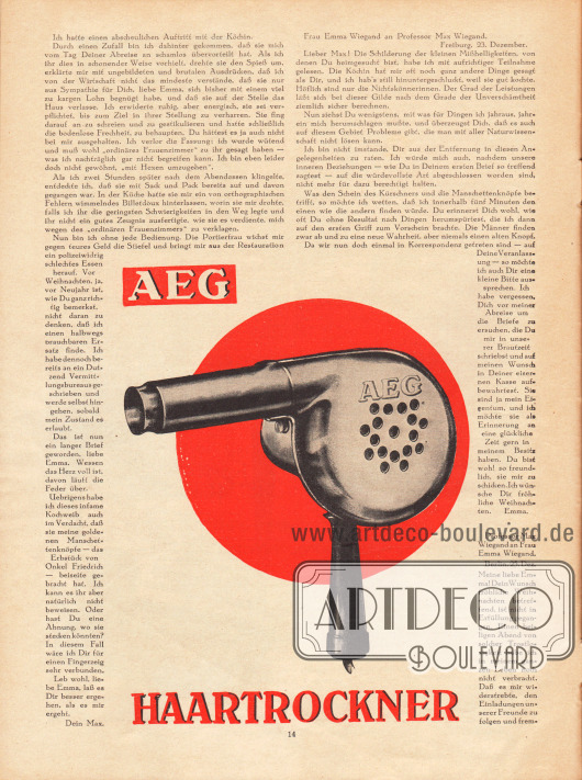 Artikel: Fulda, Ludwig, Der Pelz beim Kürschner. Werbung: Haartrockner, AEG.