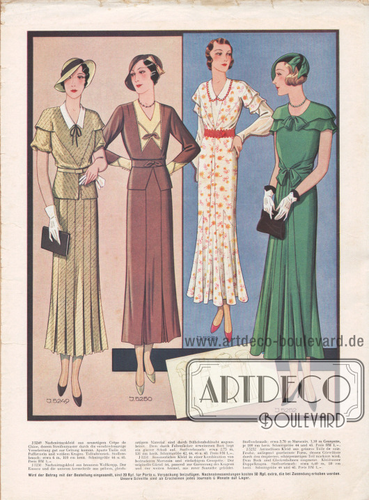 Zwei Nachmittagskleider aus neuartigem Crêpe de Chine und Wollkrepp. Danach ein sommerliches Kleid aus bedrucktem Marocain und ein ärmelloses Kleid aus grünem Toile de soie mit kleidsamen Doppelkragen und einer schärpenartigen Gürtellinie.