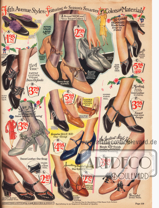 """Elegante Schnallenschuhe, Oxfords und Pumps aus Ziegenleder, alligatorähnlich genarbtem Leder, Satin, Lackleder und Eidechsenleder, wobei auch mehrere Ledersorten kombiniert werden. Die Damenschuhe zeigen kleine Schleifen, Perforationen, Ausstanzungen, kleidsame Schließen und Ziernähte. Kubanische, hohe spitze (engl. """"spike heels"""") sowie niedrige Absätze sind hier bei den verschiedenen Modellen bestellbar.Oben links wird auch ein Paar Damenpantoffeln wahlweise aus leicht schimmerndem Satin oder stumpfen Samt präsentiert. Ein Federpompon dient als Garnierung."""