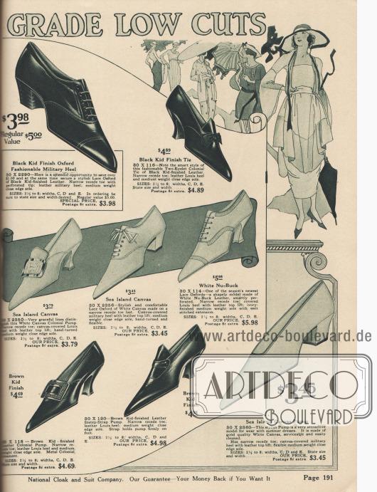 """""""Hochwertige Halbschuhe für Damen"""" (engl. """"[Women's High] Grade Low Cuts""""). Damenschuhe für warme Sommertage. Oxfords, Pumps und Kolonialpumps aus schwarzem oder braunem Chevreauleder (Ziegenleder) oder sommerlich leichtem Kanevas. Drei Modelle besitzen einen breiten, gerade geformten Militärabsatz, die anderen Schuhmodelle sind mit geschweiften Louis XIV Absätzen versehen. Charakteristisch für die Schuhmode 1920 sind stark spitz geformte Schuhkappen. Modelle mit leichten Lochlinienverzierung oder Ziernähten. Ein Schuh mit Schleife."""