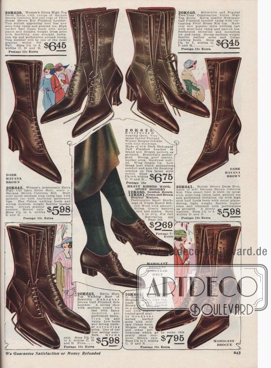 """Sechs winterfeste Schnürstiefel aus braunem, südamerikanischem oder afrikanischem Cabretta Chevreauleder (Ziegenleder) oder mahagonibraunem Kalbsleder sowie ein Paar rahmengenähte Brogue Oxfords für Damen und modebewusste Frauen zum Preis von 5,98 bis 7,95 Dollar. Zwei zweifarbige Stiefel mit farblich abstechendem Schaft. Alle Schnürstiefel mit spitzen Schuhkappen, Lyralochung und dezenten Ziernähten. Wahlweise geschwungene Louis XIV Absätze, Militärabsätzen oder kubanische Laufabsätze. Zwei Stiefelpaare mit Vorderkappenmuster. Das Oxford-Paar wird zudem mit gerippten Sportstrümpfen aus Wolle in dunklen Farben angeboten, wie schwedisch Braun oder grün-braunem und heidekrautblauem Mischgarn (engl. """"Heather"""")."""