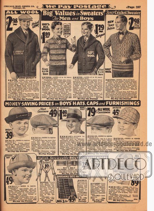 Oben ein Cardigan (Strickjacke) aus Wolle mit breitem Schalkragen und Taschen, ein Pullover und ein Cardigan aus Wollgewebe und Woll-Baumwoll-Mischgewebe für Jungen zwischen 4 und 14 Jahren sowie ein Pullover mit V-Ausschnitt aus Baumwolle und Wolle für Männer. Unten werden Hüte, Mützen, Sonnenhüte und eine Jockey-Kappe (Cap) aus Woll-Kaschmir, Wollfilz oder Baumwolle für Jungen angeboten. Außerdem werden für Jungen hier auch Hosenträger, ein Gürtel sowie ein Set bestehend aus drei Krawatten (Baumwolle und Rayon) für Jungen offeriert.