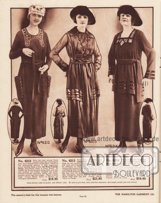 6212: Schickes Herbstkleid aus französischem Woll-Serge in der mittleren Preisklasse für 19,95 Dollar. Um den runden Ausschnitt zeigt sich die derzeit beliebte französische Knötchenstickerei aus Wolle. Die abstehend aufgesetzten Taschen sind mit Knöpfen aufgemacht. Zweifach umschlungener, schmaler Stoffgürtel. Das Oberteil ist mit Leinen gefüttert. 6213: Sehr elegantes Nachmittagskleid aus Satin mit Ärmeln aus Georgette für Frauen. Unterhalb der Taille befinden sich zwei tunikaartige Paneele aus Georgette, die mit mehreren Satinblenden und Knöpfen am Saum ausgestattet sind. Die Blenden wiederholen sich auch in der Taille. Eine neuartige und kleidsame Halskette aus Seiden-Kord mit Holzperlen gehört zu diesem Modell. 6214: Einfaches und gefälliges Herbstkleid mit Tunika aus französischem Woll-Serge zum moderaten Preis von 19,95 Dollar für Damen. Seiden-Stickerei im Farbton sowie in kontrastierender Farbe umrahmen den quadratischen Halsausschnitt. Drei Reihen mit Tresse führen ringsum um den Saum der Tunika sowie um die glockigen Ärmelaufschläge.