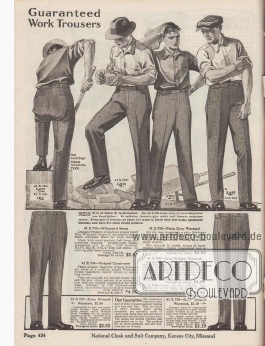 """""""Arbeitshosen mit Garantie"""" (engl. """"Guaranteed Work Trousers""""). Arbeitshosen aus Whipcord-Serge, Woll-Baumwoll-Mischgewebe mittelschwerer Qualität, Kaschmirwolle, gestreifter und hochwertiger Kammbaumwolle für Männer. Die Hose besitzen keine Hosenaufschläge, aber seitliche Taschen sowie Gesäßtaschen."""