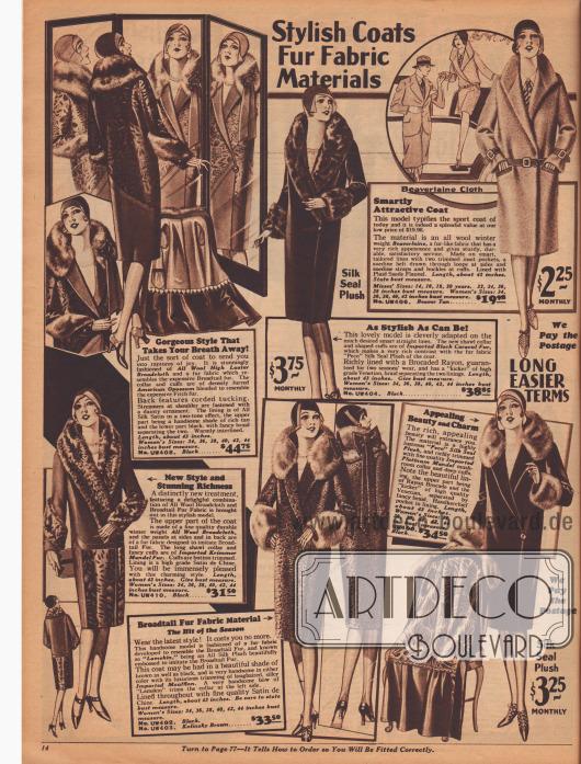 """""""Modische Mäntel – Pelzähnlichen Stoffe"""" (engl. """"Stylish Coats – Fur Fabric Materials""""). Damenmäntel für den Winter aus pelzähnlichen Stoffen, Wollstoffen sowie echten Pelzverbrämungen, die teure Pelze imitieren. Die Mäntel sind aus hochglänzendem Breitgewebe (ähnlich Breitschwanz/Persianer) mit amerikanischem Opossum verbrämt, """"Beaverlaine"""" (biberähnlichem Wollstoff), """"Peco"""" Seiden-Plüsch mit importiertem, schwarzem Karakulfell oder platinfarbenem """"Mandel fur"""" (chinesisches Schaf) sowie importierter Mufflon-Wolle. Tiefgehende Schalkragen und breite, pelzverbrämte Ärmelstulpen sind modern. Unten rechts ein Mantel mit buntem Futterstoff aus Brokat."""