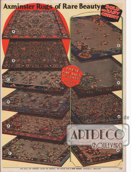 10 Axminister (Devon, GB) Webteppiche aus Samt mit asiatischen oder auch modernen (A) Ornamenten und Musterungen, Maße von 6 x 9 bis 9 x 12 ft (183 x 234 bis 234 x 366 cm).