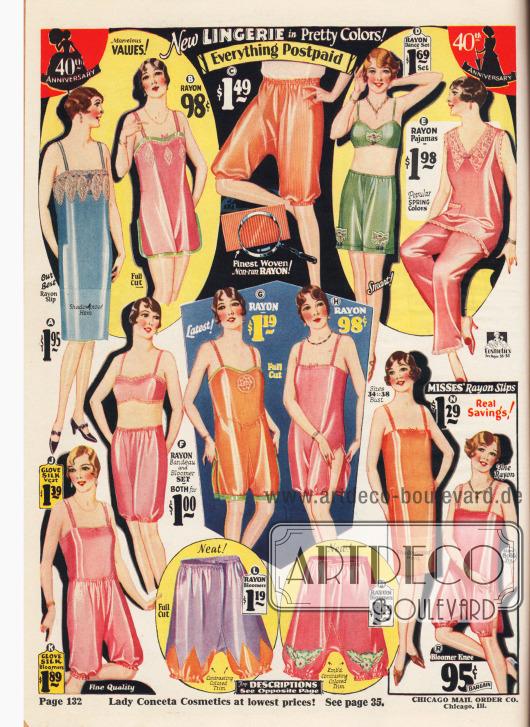 """Damenunterwäsche aus Handschuh-Seide, hauptsächlich Rayon und gestricktem Rayongewebe. Die gängigen Farben sind Pink, Orange, Blau, Lila und Grün. Im Angebot sind lange Unterröcke (A, N), einteilige Hemd-Höschen Kombinationen (engl. """"camiknickers"""" oder """"teddy bloomers"""", B, G, H, R), Pumphöschen (C, L, M), zweiteilige Bustier-Schlupfhöschen Kombinationen (hier """"Dance Set"""" genannt, D), ein zweiteiliger Pyjama (E), eine zweiteilige Bustier-Pumphöschen Kombination (F) sowie zweiteilige Hemd-Höschen Kombinationen (J, K). Unten rechts sind Unterwäschestücke für junge Mädchen."""