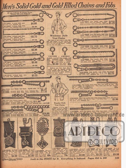 """""""Vergoldete und echte Goldketten sowie Anhänger für Männer"""" (engl. """"Men's Solid Gold and Gold Filled Chains and Fobs""""). Ketten für die Brust- oder Westentasche aus vergoldetem Metall oder echtem Gold. Unten befinden sich Schmuckanhänger mit breiten, gewebten Seidenbändern, Drähten oder zusammengefügten Metallketten als Halterung. Die kunstvollen Anhänger selbst sind aus vergoldetem Metall oder aus Echtgold."""