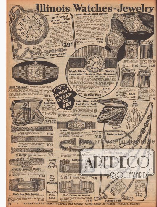 """""""Uhrenschmuckstücke aus Illinois"""" (engl. """"Illinois Watches-Jewelry""""). Goldene Taschenuhren, grazile Armbanduhren für Frauen, funktionale Armbanduhren für Männer, schicke Feuerzeuge, ein Feuerzeug mit Kette in einem feinen Schmuckkästchen, kunstvoll gearbeitete Armreife für Damen, Armbänder aus Metallgliedern sowie vergoldete Anzugketten zum Befestigen von Taschenuhren (hier engl. """"Men's Waldemar chain""""). Die teuren Armbanduhren sind aus Echtgold gefertigt und teilweise mit Schmucksteinen oder Edelsteinen versehen."""