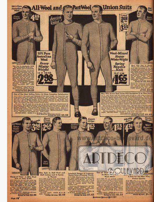 Langärmelige Hemdhosen für Männer aus Wollmischstoffen mit Knopfleisten.
