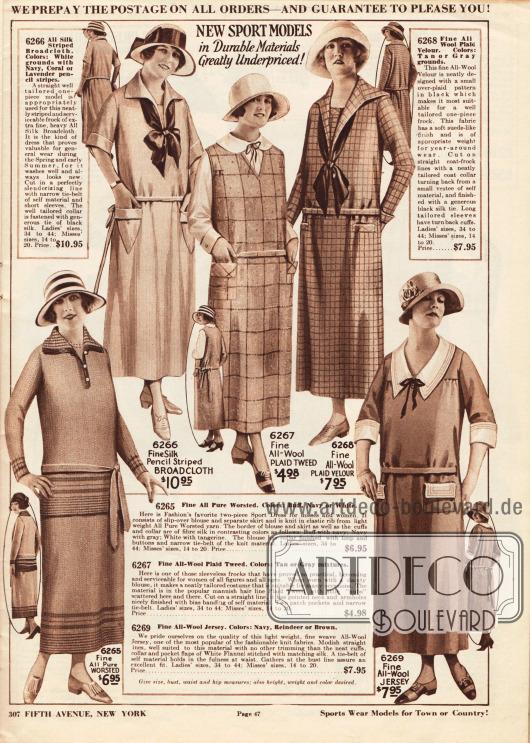 Einfache, sportliche Kleider aus Strickgarn, fein gestreiftem Breitgewebe, Woll-Tweed, Woll-Velours und Woll-Jersey.Die Sportkleider und Tageskleider besitzen schmale Gürtel und aufgesetzte oder eingearbeitete Taschen. Zwei Kleider zeigen eine zur Schleife gebundene Krawatte im die v-förmigen Ausschnitte.