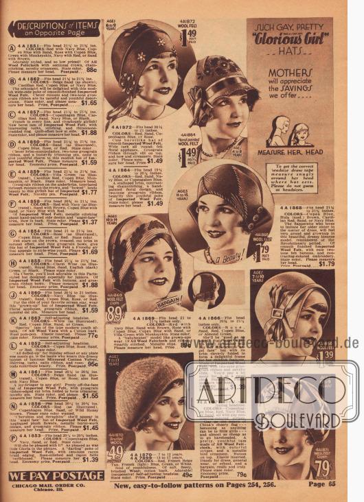 """Solch fröhlich, hübsche """"Glorious Girl"""" (Reg. U.S. Pat. Off.)… Hüte… Mütter werden diese Schnäppchen zu schätzen wissen, die wir anbieten… MESSEN SIE IHREN KOPF. Um die korrekte Kopfgröße zu erhalten, ziehen Sie das Maßband eng um den Kopf, wo der Hut sitzt. Bitte raten Sie nicht die Kopfgröße.  4 A 1872 – Kopfgröße 20½ bis 21 Zoll. FARBEN: Rot, Sand, Kopenhagen Blau oder Rose. Niedlicher, barettartiger Hut aus glattem, importiertem Wollfilz. Breite Paspel rundum; Filz-Blumenapplikationen. Ripsband durch Schlitz oben, Schleife und flatternde Bändchen. Farbe angeben. Bitte messen Sie ihren Kopf. Preis… 1,49 $. 4 A 1864 – Kopfgröße 19¾ bis 20¼ Zoll. FARBEN: Rot, Sand, Marineblau oder Kopenhagen Blau. Eine ausgebogte Krempe, kontrastierende Maschinenstickerei, ein handgemaltes Blumenmuster und zweifarbiges Ripsband verschönern diese jugendliche Schute aus importiertem Wollfilz. Farbe angeben; bitte messen Sie ihren Kopf… 1,49 $. 4 A 1868 – Kopfgröße 21¼ bis 21¾ Zoll. FARBEN: Kopenhagen Blau, Hula (Mittelbraun), Kastilien Rot, Sand oder Marineblau. Das Flapper-Mädchen, die es liebt, ihre ältere Schwester in Sachen Kleidung zu imitieren, wird sich sehr stolz und erwachsen fühlen in diesem schönen, kleidsamen Zweispitzmodell, das an die Revolutionszeit erinnert. Aus glatt verarbeitetem, importiertem Wollfilz, mit niedlichen zweifarbigen Filzknöpfen und kontrastierender Stickerei. Farbe angeben. Bitte messen Sie den Kopf. Preis, portofrei… 1,79 $. 4 A 1869 – Kopfgröße 21 bis 21½ Zoll. FARBEN: Rot mit Marineblau, Sand mit Braun, Rose mit Kopenhagen Blau, Kopenhagen Blau mit Sand oder Villa Grün mit Affenhaut. Farbe angeben. Ein """"Babyhauben""""-Modell, wie es Erwachsene tragen. Aus Wollfilz und Band. Geschickt genäht. Metallische Klammern. Bitte messen Sie ihren Kopf. Preis… 89c. 4 A 1870 – 7 bis 12 Jahre. 4 A 7899 – 13 bis 17 Jahre. FARBEN: Rot, Französisch Beige-Hellbraun, Französisch (hell) Blau, Grün oder Weiß. Seele der Jugendlichkeit. Aus weicher, flauschiger, gebürsteter"""