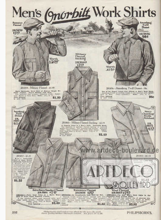 """""""Onorbilt Arbeitshemden für Herren"""" (engl. """"Men's Onorbilt Work Shirts""""). Derbe Arbeitshemden der US-Marke Onorbilt mit aufgesetzten Taschen und verstärkten Doppelnähten aus militärischem Flanell, """"Amoskeag Twill Domet"""" (Gewebe der Amoskeag Manufacturing Co. in Manchester, New Hampshire, USA), Chambray, """"Remanco"""" Flanell oder Woll-Flanell. Die Hemden sind mit fest angenähten Kragen ausgestattet."""