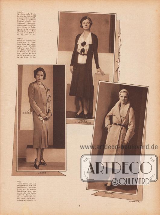 J 6382/83: Für dieses fesche Kleid, das mit der Jacke J 6382 getragen wird, ist mandelgrüner Wollgeorgette das geeignete Material. Als Garnierung Hohlnähte. Stoffverbrauch zum Kleid: etwa 2,70 m, zur Jacke: 1,40 m, je 130 cm breit. Schnittgrüße 44. – Preis für das Kleid RM. 1,-, für die Jacke 75 Rpf. J 6384/85: Kostüm aus mittelblauem Woll-Crêpe de Chine. Dazu Bluse aus milchweißer Seide (J 6385). Stoffverbr.: zum Kostüm etwa 2,70 m, 130 cm breit, zur Bluse 2,15 m, 100 cm breit. Schnittgr. 44. Preis für das Kostüm RM. 1,-, für die Bluse 75 Rpf. J 6386: Fescher Sportmantel aus genopptem Wollstoff. Der hochgestellte, neuartige Kragen und die aparten Manschetten sind gesteppt. An den Seiten effektvolle Schnitteilungen. – Stoffverbrauch: etwa 3,35 m, 130 cm breit. Schnittgr. 44. Preis RM. 1,-.  Fotos: Joel Feder, New York City (Lebensdaten unbekannt). [Seite] 5