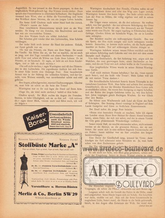"""Artikel (Novelle):Friesland, C. R. von, Die flammende Hand.Werbung:Kaiser-Borax, Zusatz zur Stärke macht die Wäsche blendend weiß, steif und elastisch, Heinrich Mack Nachf., Ulm a. D.&#x3B;Stoffbüste Marke """"A"""", verstellbare u. Herren-Büsten, Merliz & Co., Berlin SW 29, Willibald-Alexis-Strasse 40."""
