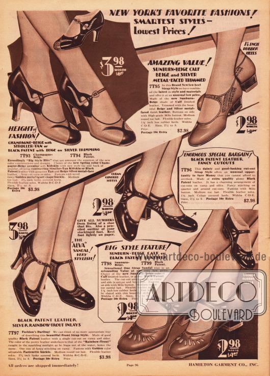 """Elegante Damenschuhe, wie Schnallenschuhe und sommerliche Sandalenmodelle, aus schwarzen Lackledern, braun-beigen Kalbsledern oder Chevreauledern (Ziegenleder). Ornamentale und dekorative Ausstanzungen und Perforationen erzeugen schöne Motive an den verschiedenen Modellen. Verschieden farbige Kombinationen von Ledern ermöglichen schöne Kontraste, wie bei dem extravaganten Schnallenschuh oben links. Die Schuhe sind entweder mit niedrigen Absätzen, mittelhohen Kubanischen Absätzen oder spitzen, hohen Absätzen (engl. """"spike heels"""") bestellbar."""
