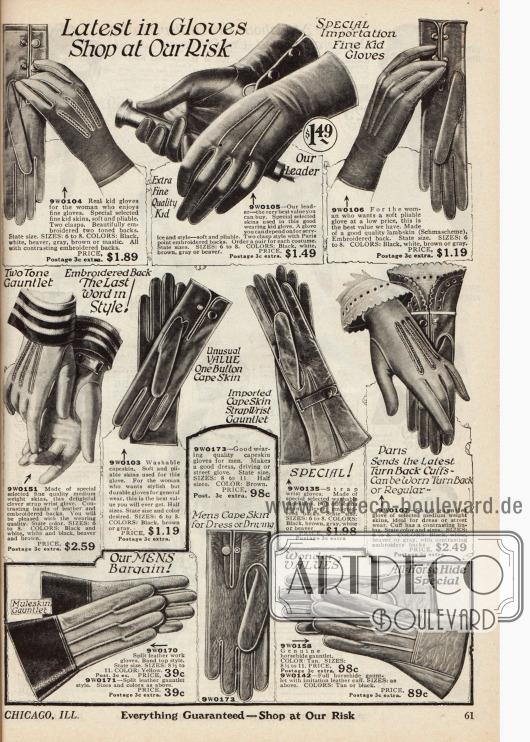 Doppelseite mit langen und kurzen Stulpen- und Schlupfhandschuhen für Frauen aus Ziegenleder und Lammleder. Die Damenhandschuhe sind entweder sehr fein gearbeitet, beispielsweise für elegante Abendveranstaltungen, oder recht grob und auf Widerstandsfähigkeit hin gearbeitet, beispielsweise für Autofahrten. Stickereien und Ziernähte sind besonders bei den feineren Exemplaren zu finden. Geschlossen werden die Handschuhe mittels Knopfverschlüssen oder auch mit kleinen Riemchen. Arbeitshandschuhe für Männer finden sich unten rechts.