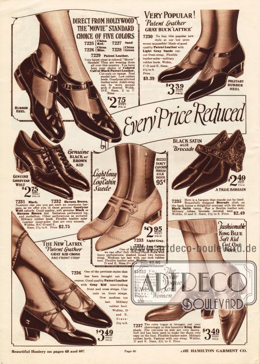 """""""Alle Preise reduziert in unserem ehrgeizigen Ausverkauf"""" (engl. """"Every Price Reduced In Our Drive Sale"""").Oxfords, Schnallenschuhe und Sandalen aus Lackleder, rauem Wildleder, Chevreauleder (Ziegenleder) und auch ein Paar aus schwarzem Satin und gemustertem Brokat. Die Schuhe besitzen niedrige oder militärische Absätze. Die Oxfords (Mitte links) sind maschinell gefertigt (""""Goodyear welt""""). Einige Modelle sind mit Perforationen versehen oder zeigen ornamentale Ausstanzungen."""