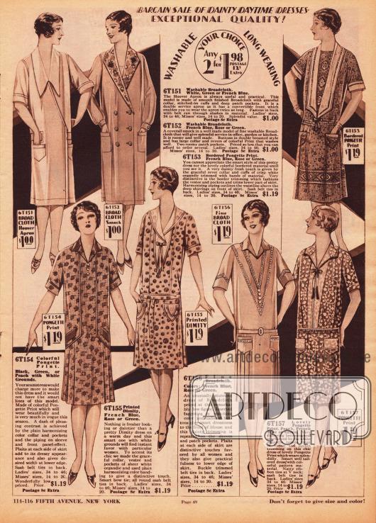 """Einfache Haushaltskleider und Kittelkleider für die häusliche Arbeit, die Gartenarbeit oder den Einkauf. Die Haushaltskleider sind aus bedruckter Rohseide, Dimity (dt. """"Barchent"""", Mischgewebe aus Baumwolle und Leinen) sowie Breitgewebe. Für praktische Zwecke besitzen alle Kleider aufgesetzte Taschen. Die beiden Arbeits- und Kittelkleider oben links sind aus Breitgewebe hergestellt."""