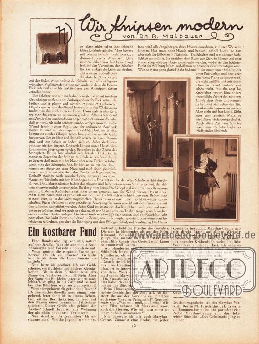 Artikel:Maibauer, Dr. R., Wir Knipsen modern.Drei Fotografien zeigen elektrische Lichtschalter und ihren Einsatz.Werbung:Marylan-Creme, Marylan Vertrieb, Berlin 171, Friedrichstr. 24.