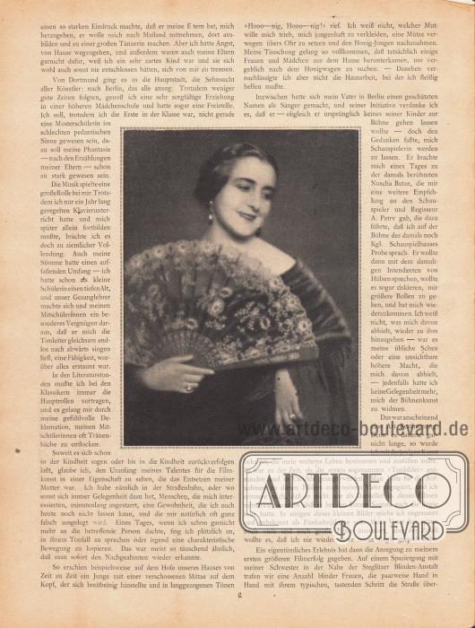Artikel:Porten, Henny, Meine Anfänge.Der Artikel ist um eine große Fotografie der deutschen Stummfilmschauspielerin Henny Porten (1890-1960) ergänzt. Das Bild ist ohne Bilderklärung.Foto: unbekannt.