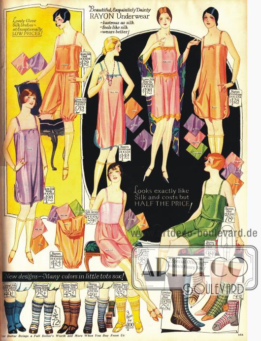 Damenunterwäsche aus Rayon. Die Unterwäsche ist meist ausschließlich in rosa, orange oder lila gehalten.