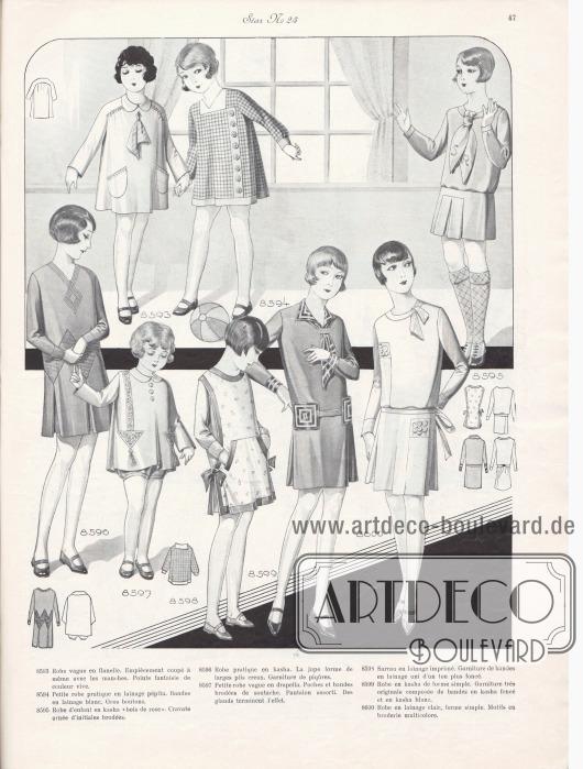 8593: Robe vague en flanelle. Empiècement coupé à même avec les manches. Points fantaisie de couleur vive. 8594: Petite robe pratique en lainage pépita. Bandes en lainage blanc. Gros boutons. 8595: Robe d'enfant en kasha « bois de rose ». Cravate ornée d'initiales brodées. 8596: Robe pratique en kasha. La jupe forme de larges plis creux. Garniture de piqûres. 8597: Petite robe vague en drapella. Poches et bandes brodées de soutache. Pantalon assorti. Des glands terminent l'effet. 8598: Sarrau en lainage imprimé. Garniture de bandes en lainage uni d'un ton plus foncé. 8599: Robe en kasha de forme simple. Garniture très originale composée de bandes en kasha foncée et en kasha blanc. 8600: Robe en lainage clair, forme simple. Motifs en broderie multicolore.