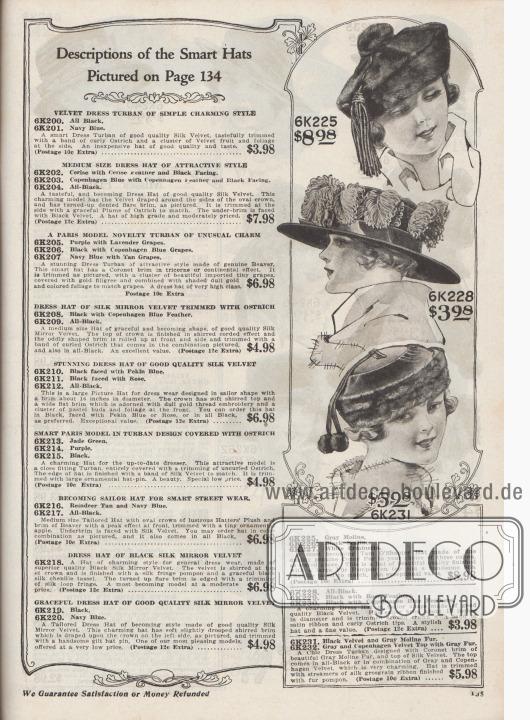 """Kleidsame Damenhüte zu Preisen von 3,98 bis 8,98 Dollar. 6K225 / 6K226 / 6K227: An eine Schottenmütze (engl. """"Tam O'Shanter"""") angelehnter Hut aus Kaninchenfell mit großem Pelz-Pompon und Seiden-Chenille-Quaste. 6K228 / 6K229 / 6K230: Kleidsamer Damenhut in Seglerhut-Form aus schwarzem Samt mit breiter, glatter Krempe. Seidenband und lockige Straußenfedern als Aufputz. 6K231 / 6K232: Schicker Turban aus Seiden-Samt mit Randbesatz aus """"Moline""""-Pelz (?). Am Kopf sind zwei Seiden-Ripsbänder mit Fellkugeln bzw. Pelz-Pompons befestigt."""