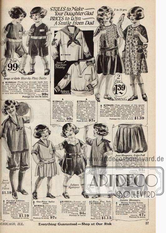 Einteilige Unisex Spielanzüge aus Baumwollstoffen vorrangig für Mädchen, ein Sportkleid mit Kniebundhose aus Khaki Stoff, zwei Kleidern zusammen für 1,39 Dollar für Mädchen von sieben bis 14 Jahren, zwei Pumphöschen aus Jeansstoff und Satin und zwei Blusen im Matrosenstil aus Baumwolle.