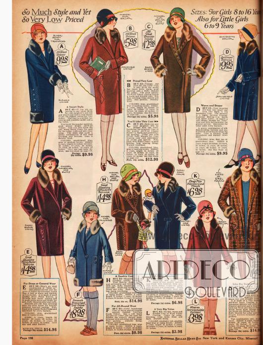 Doppelseite mit pelzverbrämten Wintermänteln und Kleidchen für Mädchen von 7 bis 14 Jahren. Die Mäntelchen sind vorrangig aus Woll-Velours und lederartig verarbeiteter Wolle. Die Kleidchen sind Leinen, Woll-Flanell, Samt, Rayon-Taft, Woll-Krepp, Jersey, Flanell, Seiden-Krepp und Tweed.