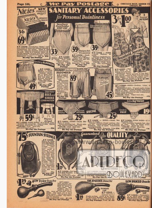 """""""Hygieneartikel für die persönliche Anmutigkeit"""" (engl. """"Sanitary Accessories for Personal Daintiness""""). Auf der Seite werden Damenbinden der Marke Nicies (engl. """"sanitary napkins""""), Gummihöschen und Gummischlüpfer, Haushaltsschürzen, Bindengürtel (Hygienegurte) aus elastischem Material, Klistiere, Klistierspritzen, Klistieraufsätze, Wärmflaschen aus Gummi sowie Vaginal- und Scheidenduschen verkauft."""